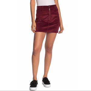 Madewell Velour Front-Zip Mini Skirt